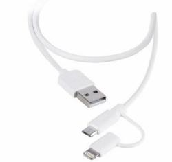 3-i-1 stik kabel med Micro USB og 8-pin stik