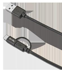 3-i-1 stik med Micro USB og USB-C