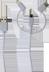 3-i-1 stik med UCB-C, Micro USB og Lightning