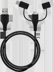 3-i-1 stik kabel med Micro USB, USB C & 8-pin